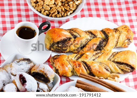 Cakes and coffee for full enjoyment - stock photo