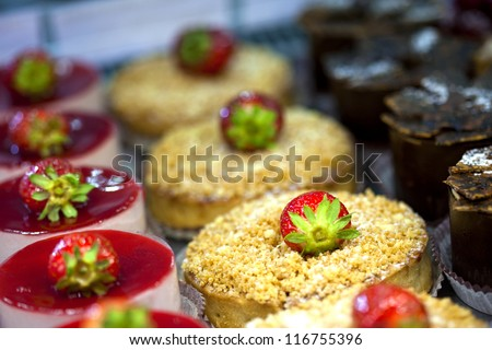 Cakes and desserts in a bakery - stock photo