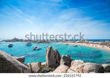 Cala Acciarino the most  beautiful beach on Lavezzi Island, Corsica France - stock photo