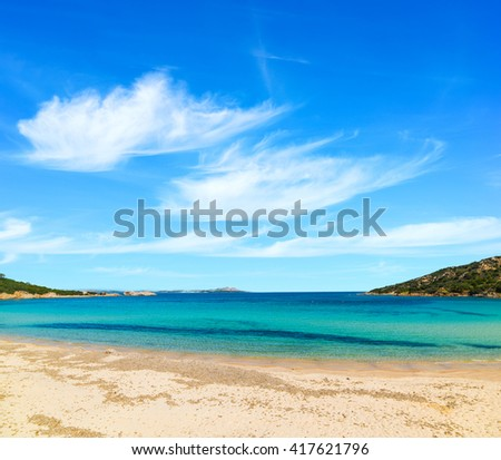 Cala Battistoni under clouds, Sardinia - stock photo