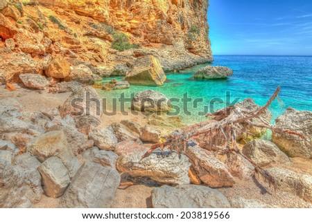 Cala Biriola in hdr tone. Sardinia - stock photo