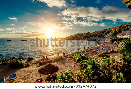 Cala d'Hort Beach at sunset. Balearic Islands. Ibiza - stock photo