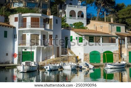 Cala Figuera colorful fishing village in Mallorca island, Spain - stock photo