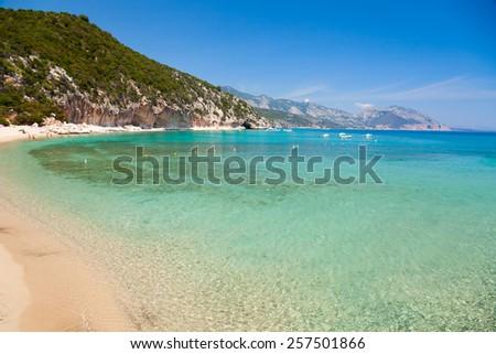 Cala Luna cove at Gulf of Orosei in Sardinia - stock photo