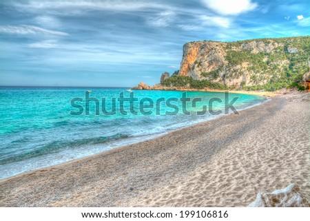 Cala Luna shoreline in hdr. Sardinia - stock photo