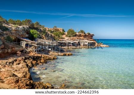 Cala Saona bay beach. Formentera island. Balearic islands, Spain. - stock photo