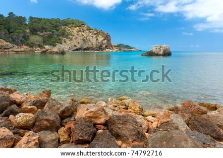 Cala Xarraca, a beautiful small bay in Ibiza Spain - stock photo