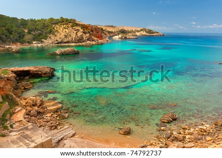 Cala Xarraca, a beautiful small bay in Ibiza Spain - stock photo
