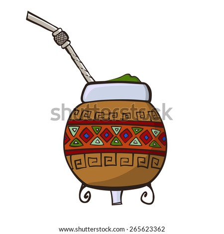 Calabash, decorated with ornaments, and bombilla - a traditional set for drinking yerba mate - stock photo
