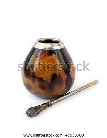 Calabash with bombilla isolated on white background - stock photo