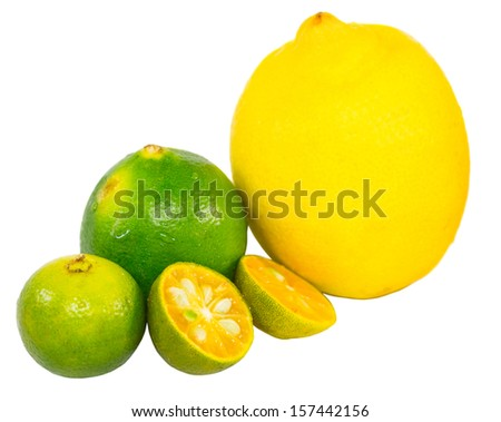 Calamansi, lime and lemon over white background
