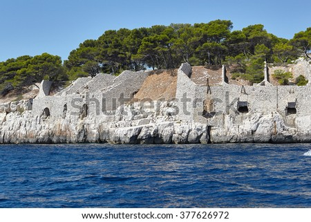 Calanques. Mediterranean coast in Provence, France. a boat trip along the coast of the Calanques - stock photo