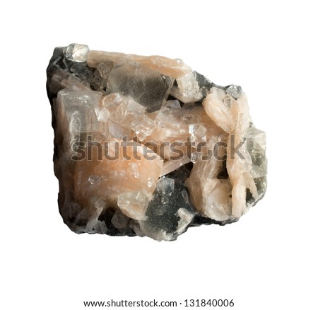 Calcite and quartz on white a background