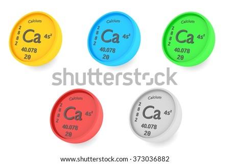 Calcium Chemical Element Symbol Set Stock Illustration 373036882
