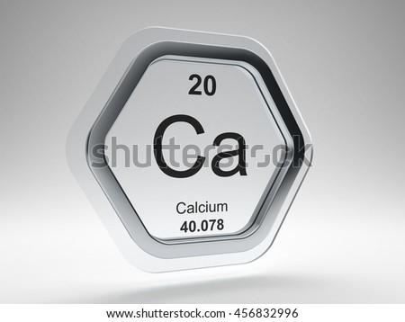 Calcium symbol on modern glass and steel icon 3D render - stock photo