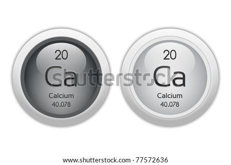 Calcium - two web buttons - chemical element with atomic number 20. It is represented by the symbol Ca - stock photo