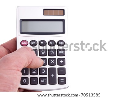 Calculating, much copyspace for own text - stock photo