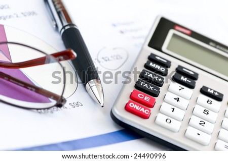 Calculating Numbers Income Tax Return Glasses Stock Photo 24490996