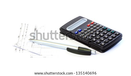 Calculating on the construction drawings against white background - stock photo