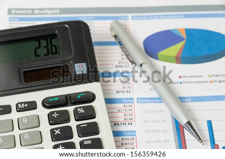 Calculation budget of event - stock photo