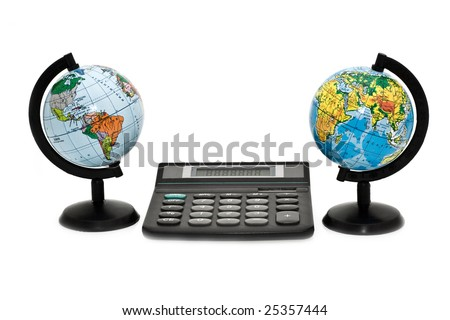 calculation on a planet - stock photo