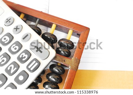 Calculator&Abacus - stock photo