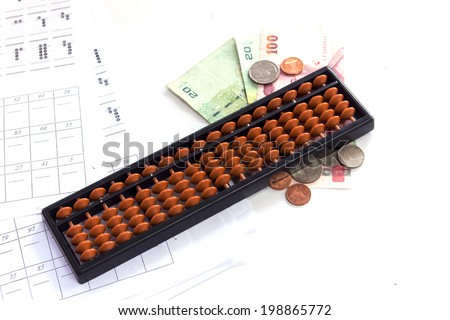 Calculator / abacus to calculate that works all the time. - stock photo