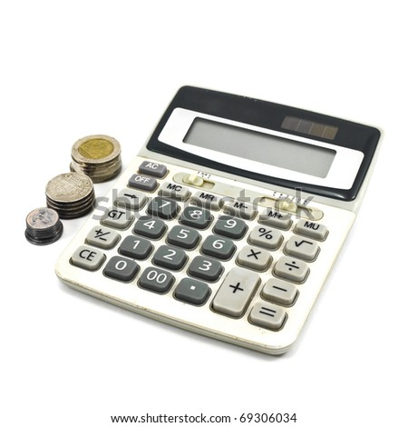 Calculator and Coins isolate on White Background - stock photo