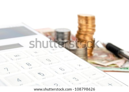 Calculator and currency - stock photo