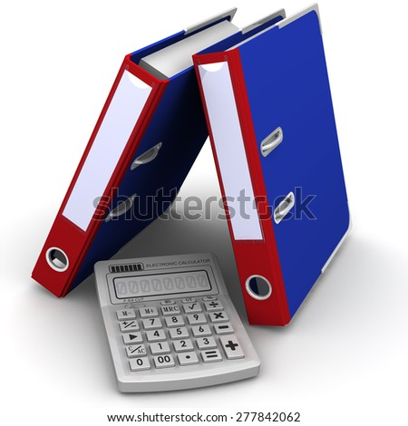 Calculator and folders on a white background Calculator and blue folders on a white background. Financial concept - stock photo