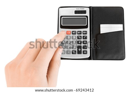 calculator and hand isolated on white