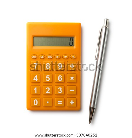 Calculator and pen with path - stock photo