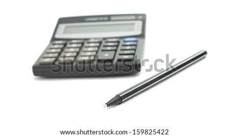 calculator and pencil isolated on white background - stock photo