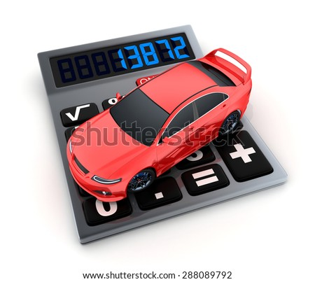 Calculator and small car (done in 3d) - stock photo