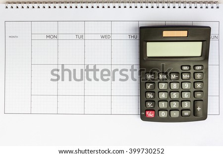 Calculator and template for calculate earn money each days of the month - stock photo