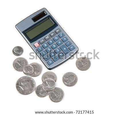 Calculator and US coins on white background. - stock photo