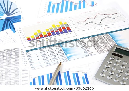 calculator, charts, pen, workplace businessman, business collage - stock photo