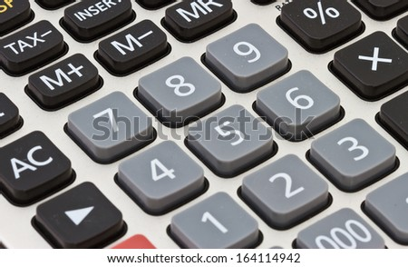Calculator close-up shot focus