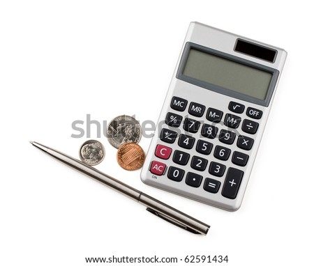 Calculator, coins and pen isolated on white background. - stock photo