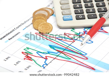 Calculator, coins and pen laying on chart. Concept of finance. - stock photo