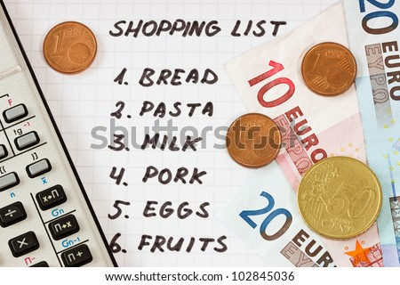 Calculator, Euro currency and handwritten shopping list - stock photo