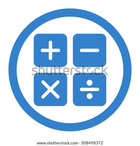 Calculator glyph icon. This flat rounded symbol uses cobalt color and isolated on a white background. - stock photo