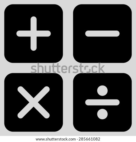 Calculator icon from Business Bicolor Set. This flat glyph symbol uses black color, rounded angles, and isolated on a light gray background. - stock photo