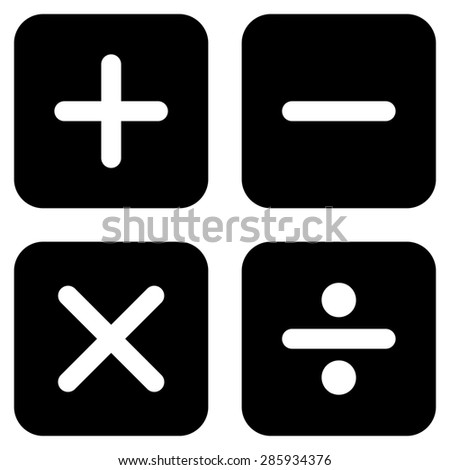 Calculator icon from Business Bicolor Set. This flat glyph symbol uses black color, rounded angles, and isolated on a white background. - stock photo