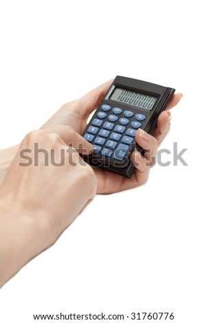 Calculator in feminine hand insulated on white background