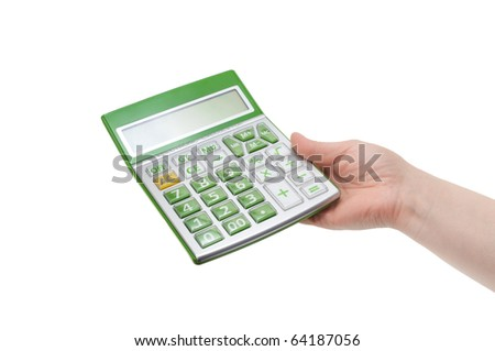 calculator in hand isolated on a white background - stock photo