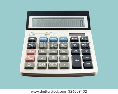 calculator isolated on blue background, device for calculating the numbers - stock photo