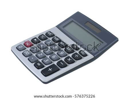 calculator isolated on white background, with clipping path.