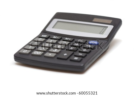 Calculator isolated over white, skew view - stock photo