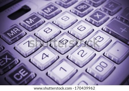 Calculator keyboard closeup - stock photo